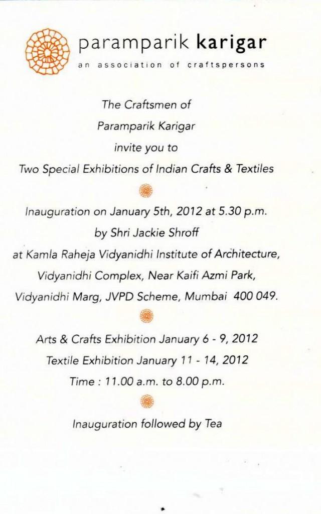 Mumbai arts craft textile paramparik karigar exhibition master craftsmen