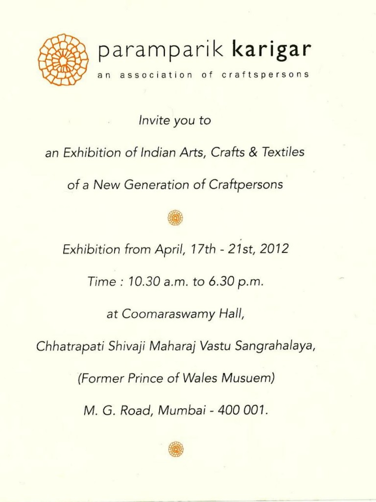 Paramparik Karigar Arts Crafts and Textile Exhibition in MUMBAI