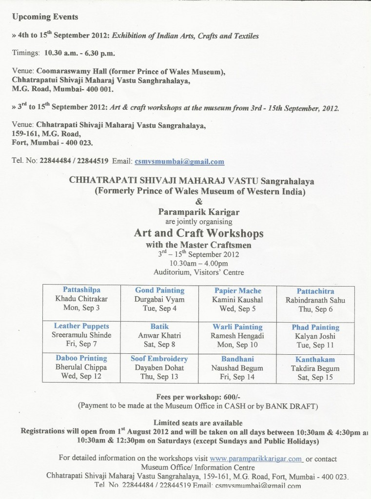 Art craft Event workshops Paramparik Karigar Mumbai Indian artists