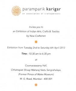 Mumbai art craft textile event Paramparik Karigar