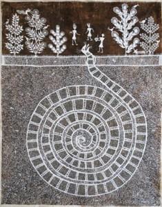 Snake Warli Painting by Jvya Soma Mashe