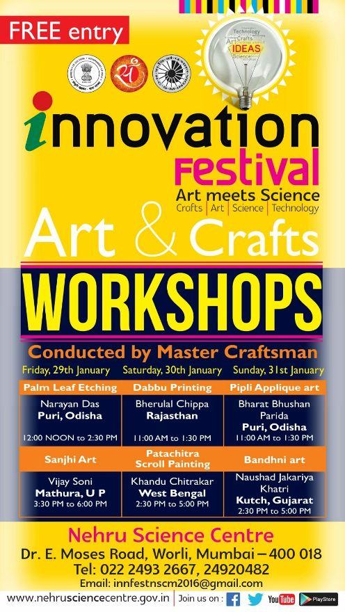 Upcoming Workshop Innovation Festival Art And Crafts Workshop