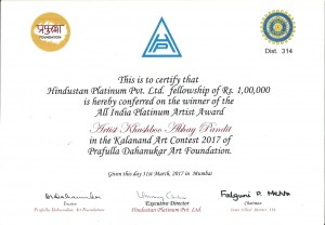 Khushboo Pandit awarded all india platinum artist award paramparik karigar