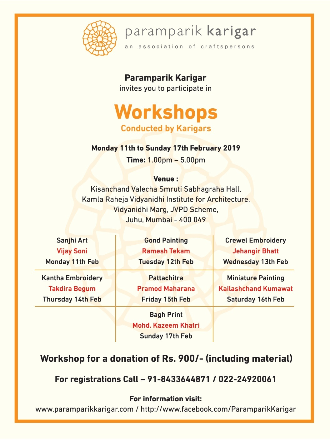 Mumbai art craft textile event workshop Paramparik Karigar